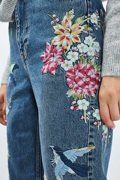 PETITE Garden Embroidered Mom Jean
