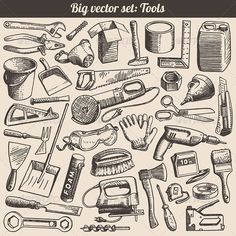 Buy Vector Doodles Collection of Working Tools by digiselector on GraphicRiver. Vector doodles collection of working tools and instruments — 38 items! Free Vector Art, Free Vector Images, Doodle On Photo, Tool Tattoo, Doodles, Old Tools, Vintage Tools, Mandala Tattoo, Vector Design