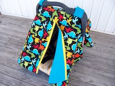 3 in 1 Car Seat Canopy, Nursing Cover, and Blanket--Baby Boy--Dinosaur Carseat Canopy on Etsy, $38.50