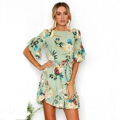 Floral Printed Dress Casual Chiffon Flare Sleeve O-Neck Ruffles Dress – Center Of Treasures Chiffon Ruffle, Ruffle Dress, Ruffles, Chiffon Dress, Boho Dress, Half Sleeve Dresses, Mini Dress With Sleeves, Half Sleeves, Gold Prom Dresses