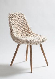 Cozy knit chair/ hans sapperlot  Hmmmm....I've got several chair legs lying around.