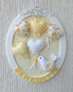 Baby Crafts, Felt Crafts, Diy And Crafts, Crafts For Kids, Embroidery Hoop Crafts, Baby Frame, Shower Bebe, Fabric Hearts, Stitch Pictures