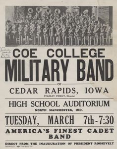 Coe College Military Band, direct from President Roosevelt's Inaguration