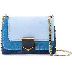 Jimmy Choo Small \'Lockett\' Tri-denim Clutch ($1,550) ❤ liked on Polyvore featuring bags, handbags, clutches, blue purse, studded handbags, blue studded purse, studded purse and jimmy choo clutches