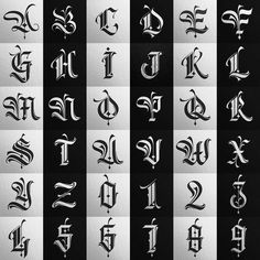 Lettering Fonts Design, Tattoo Lettering Alphabet, Calligraphy Letters Alphabet, Tattoo Lettering Styles, Gothic Lettering, Graffiti Lettering Fonts, Types Of Lettering, Gothic Alphabet, Graffiti Alphabet