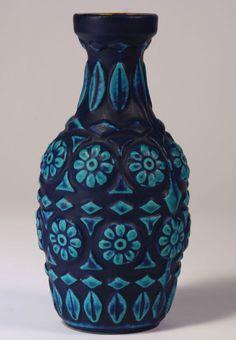 Vintage Retro 1960s Fat Lava Bay Keramik Blue Vase Bodo Mans German Pottery