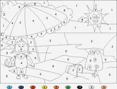 Dibujos para colorear de un paisajes con números