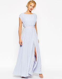 heather blue bridesmaid dress