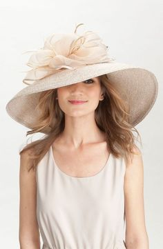 Beautiful cream summer hat with organza frowers