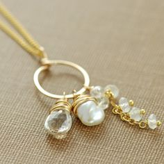 Gemstone Necklace Topaz Moonstone Pearl 14k Gold Fill by aubepine