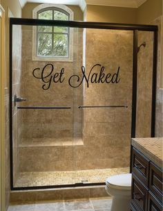 Get Naked Bathroom  Wall Decal....love the shower instead of a bathtub!!