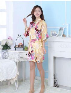 1b842972e5 Womens Kimono Robes Peacock and Blossoms Silk Nightwear Short Style - White  - CR12O5CPHLV in 2019