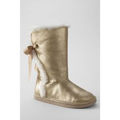 Lands End-Girls' Lindsey Metallic High Shearling Boots with Back Lace - Soft Gold Metallic