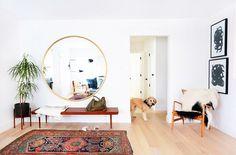 Big round mirror, simple bench