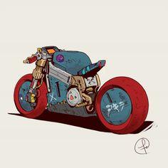 "theartofmany: ""Artist: Fernando Correa Title: Yamagata ""Cyberpunk retro motorcycle"" Very cool… "" Futuristic Motorcycle, Retro Motorcycle, Futuristic Cars, Monster Motorcycle, Yamagata, Cyberpunk Kunst, Character Art, Character Design, Character Concept"
