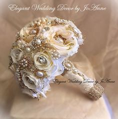 Vintage Ivory and Gold Brooch Bouquet Custom Ivory and Gold