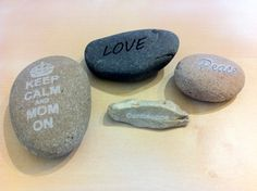 Laser-etched river stones #laser_cutting #mom #gift #techshop #etching