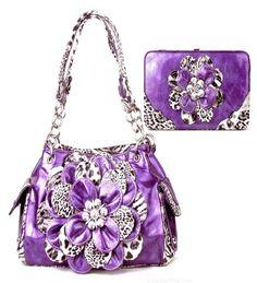 Purple Leopard Cheetah Flower Rhinestone Fashion Handbag Purse Wallet Combo #unbranded #Satchel In Stock: $45