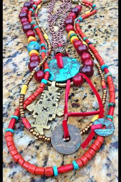 Red Beijing: Bohemian Ethnic Layered Red, Turquoise, Yellow Coptic Cross Necklace Red Jewelry, Tribal Jewelry, Modern Jewelry, Beaded Jewelry, Jewelry Ideas, Jewelry Necklaces, Bracelets, African Beads Necklace, African Jewelry