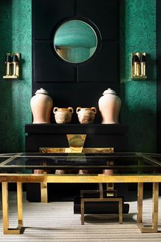 emerald, black and brass