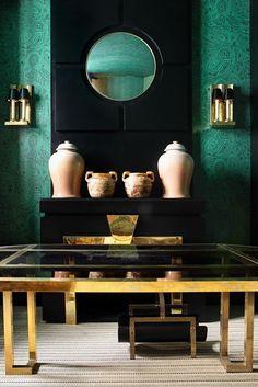 emerald, black and brass