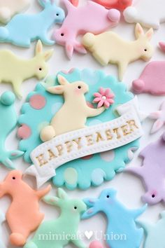 Easter Bunny Cupcake Toppers (27 Bunnies or Mix Easter Animals and 1 Happy Easter Plate)