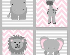 Zoo Nursery Decor Elephant Nursery Zoo Baby Room Hippo