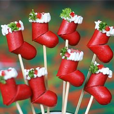 Hot Dog Christmas Stockings; can use just about any sausage or pepperoni sticks