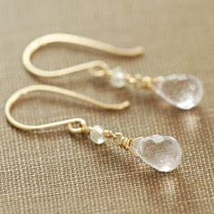 Delicate Pink Amethyst Topaz Drop Earrings Gold by aubepine