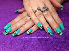 """The flowers nail art I gave ti Valentina using Ruby Wing """"Eternal""""."""