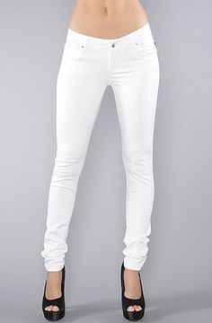 The Skinny Twill Pant in White by Tripp NYC