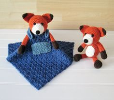 Crochet Orange, Brown and White Fox with Blue Overalls Lovey Security Blanket with Matching Fox Amigurumi - READY TO SHIP