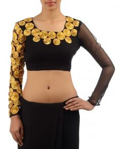 Black Blouse with Golden Gota Floral Applique #Exclusivelyin #IndianEthnicWear #IndianWear #Fashion #CelebratingIndia #Wedding #Traditional #Indochic #Designer #Boutique #Beautiful