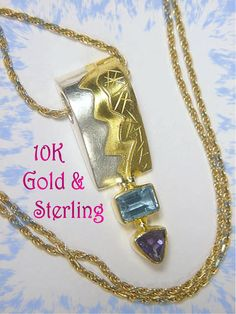 10K Gold Sterling Silver ~ Tanzanite & Blue Topaz Lightning Pendant - 10K Chain Necklace ~ FREE SHIPPING by FindMeTreasures on Etsy
