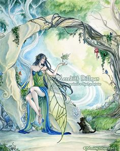 Fairy art print, green forest, black cat, art nouveau, fantasy art, Faery Glen, 11x14