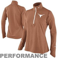 Nike Texas Longhorns Ladies Element Long Sleeve Half Zip Performance T-Shirt - Burnt Orange