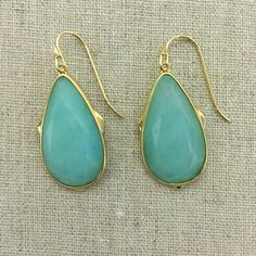 """Stella & Dot Sentiment Stone Drops - Ocean Quartz Brass Earwire.  1 3/4"""" drop length.  Medium weight. Due to the nature of semi-precious stones, please expect some variation. Stella & Dot Jewelry Earrings"""
