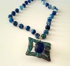 Necklace of Blue and Green by LuvZiT on Etsy, $35.00