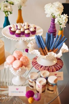 Colorful Dessert Table and Tableware by Sweet & Saucy