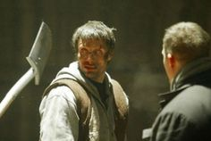 """The danish actor Mads Mikkelsen. Rehersal with stuntman Dennis Albrethsen. """"Rejseholdet"""" - Danish TV - Denmark - 2003"""