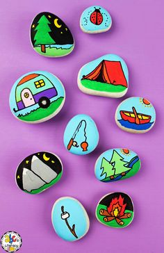 Create these easy camping story stones and then write a creative story about the outdoors. Your kids can describe a time that they went camping or write a fiction story about an outdoor adventure. Click on the picture to learn how to make these story stones! #storystones #creativewriting #writingactivitiesforkids #writingactivities #craftsforkids