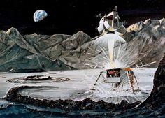 1969 NASA concept art of the Apollo 11 Lunar Module launching off the moon