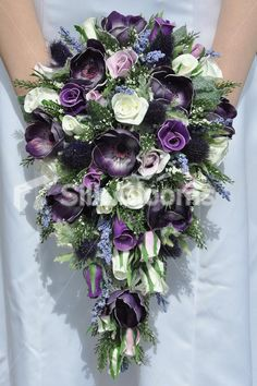 Showstopping Scottish Inspired Fresh Touch Purple Anenome Bridal Bouquet with Thistles, Roses and Heather