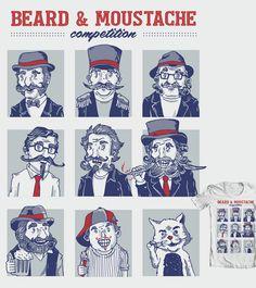 Estampa 'Beard & Moustache Competition' no Camiseteria. Autoria de Camila Matos