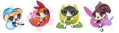 The Powerpuff Girls, Bubbles, Blossom, Buttercup, Bunny.