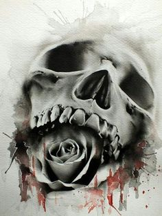 Skull with a mouth full of roses