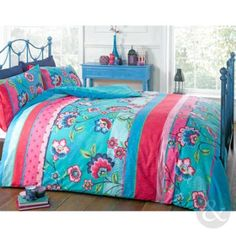 RETRO ORIENTAL DUVET COVER - Floral Reversible Teal Blue Pink King Size Bed Set Teal ( Blue Red Pink ) King Size Duvet Cover ( kingsize ): Amazon.co.uk: Kitchen & Home