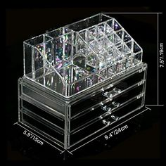 BerucciTM Clear Acrylic Jewelry Makeup Cosmetic Organizer Holder Storage  Two Piece Set with Three Bottom Drawers and Rectangular Top Design >>> More info could be found at the image url.