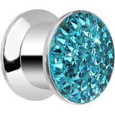 00 Gauge Zircon Blue Ferido Crystal Steel Screw Fit Plug