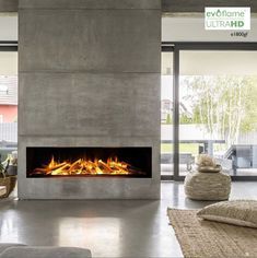 Fireplace built in electric built in glass fireplace with remote control by fires built in entertainment . Home Fireplace, Modern Fireplace, Living Room With Fireplace, Modern Electric Fires, Mantel Styling, Built In Electric Fireplace, Electric Fireplaces, Contemporary Fireplace Designs, Modern Interior Design